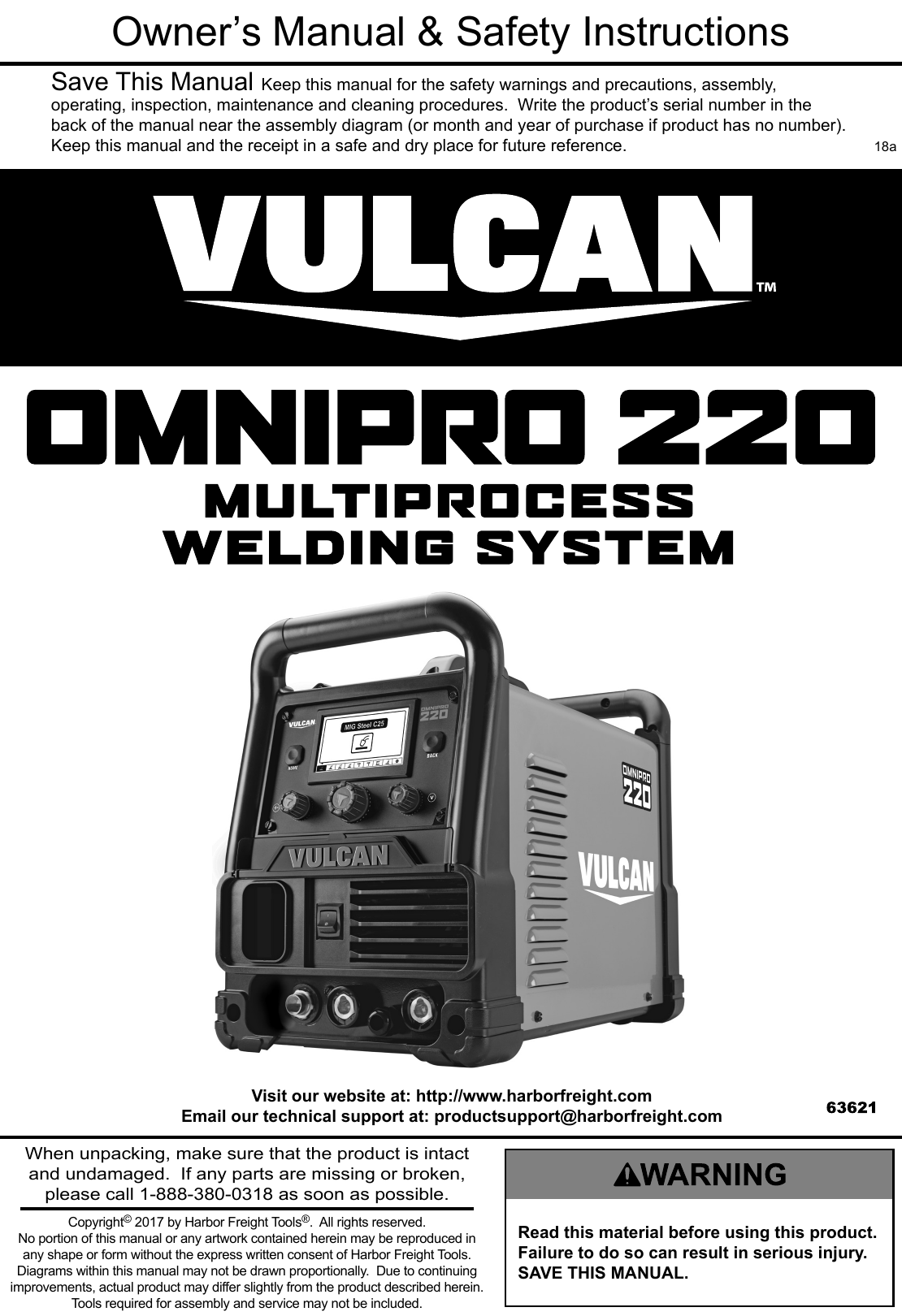 Manual For The 63621 Omni Pro™ 220 Multiprocess Welder With 120/240 ...