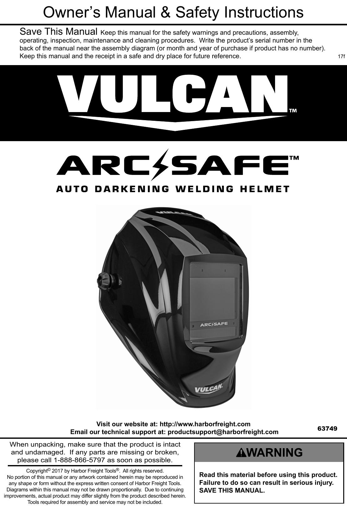 manual for the 63749 arc safe™ auto darkening welding helmet Welding Helmet Outline