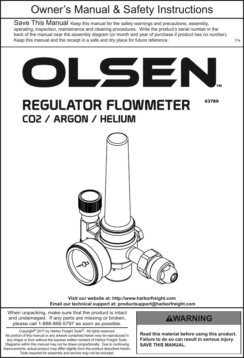 Olsen C02/ Argom/Helium/Flowmeter Regulator Welding & Soldering ...
