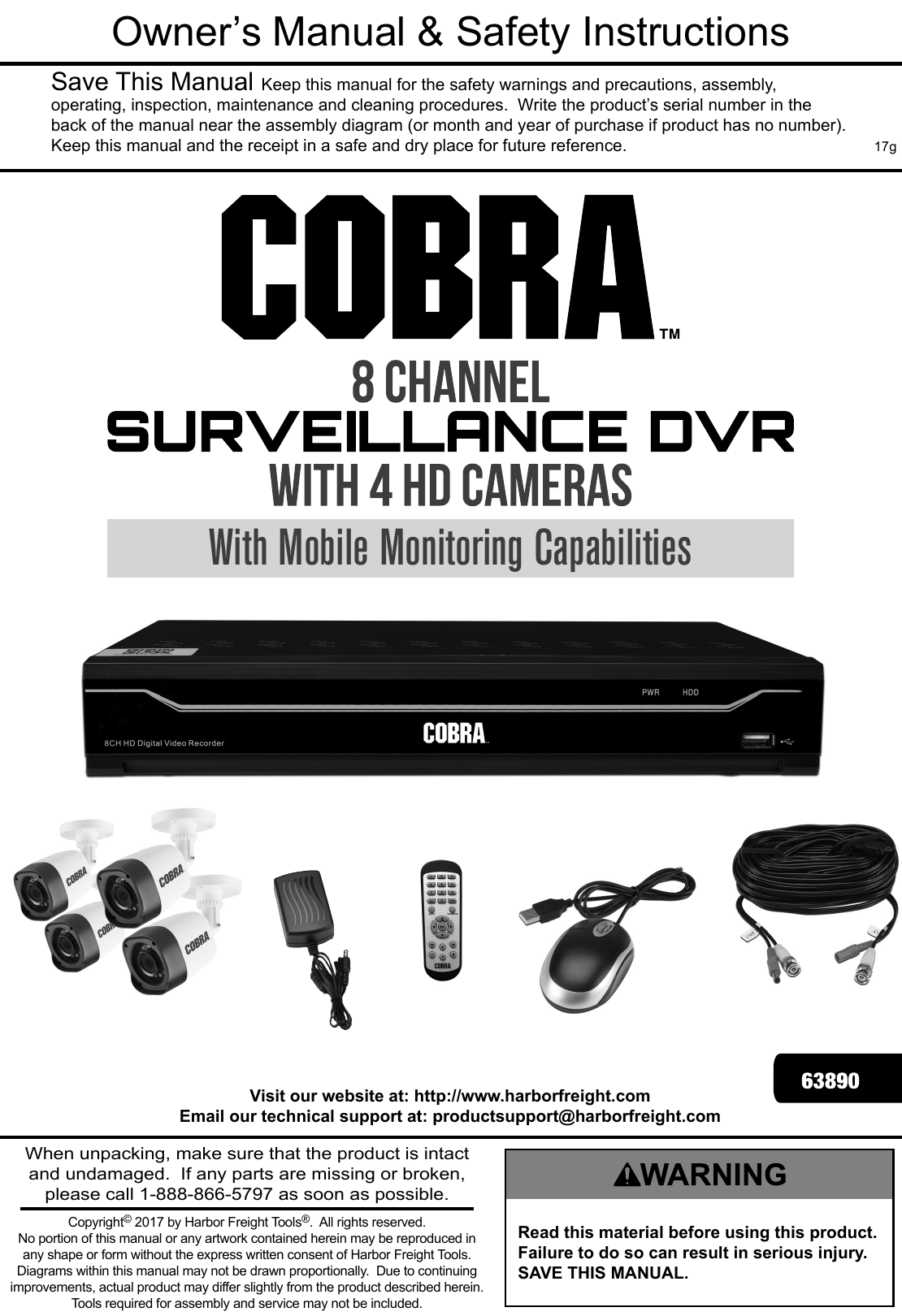 Manual For The 63890 8 Channel Surveillance DVR With 4 HD