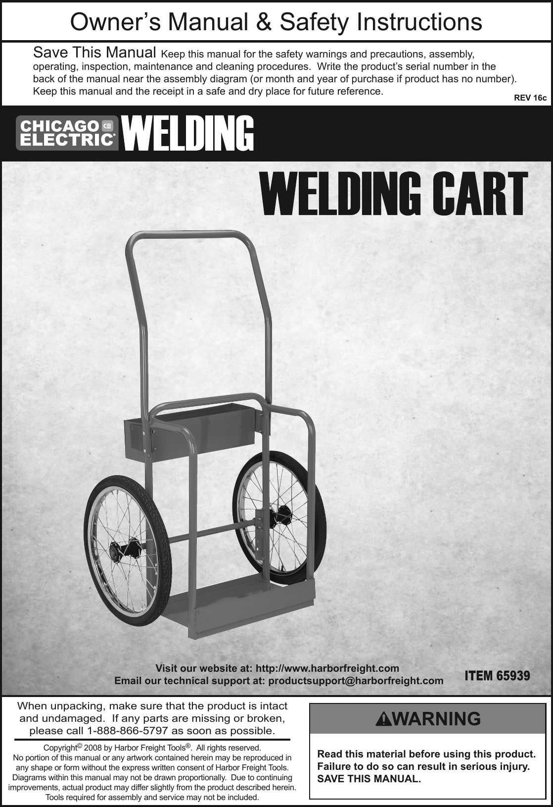 Manual For The 65939 Welding Cart Red Diagram