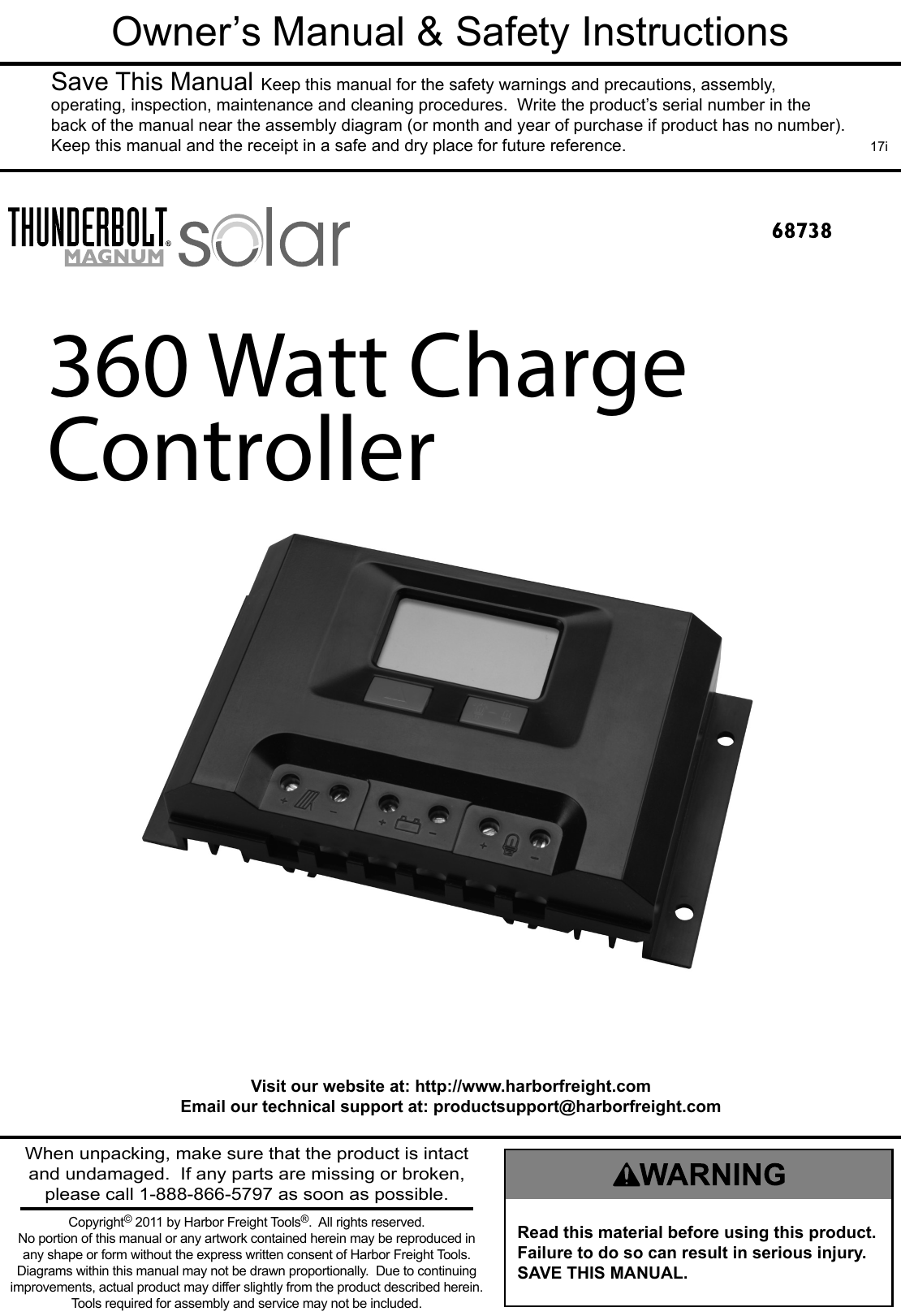 Manual For The 68738 30 Amp Solar Charge Controller