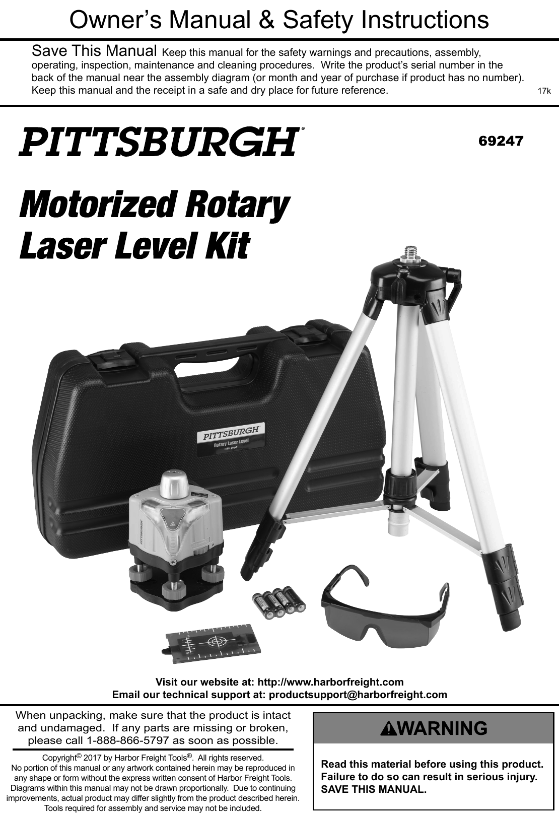 Manual For The 69247 Motorized Rotary Laser Level Kit