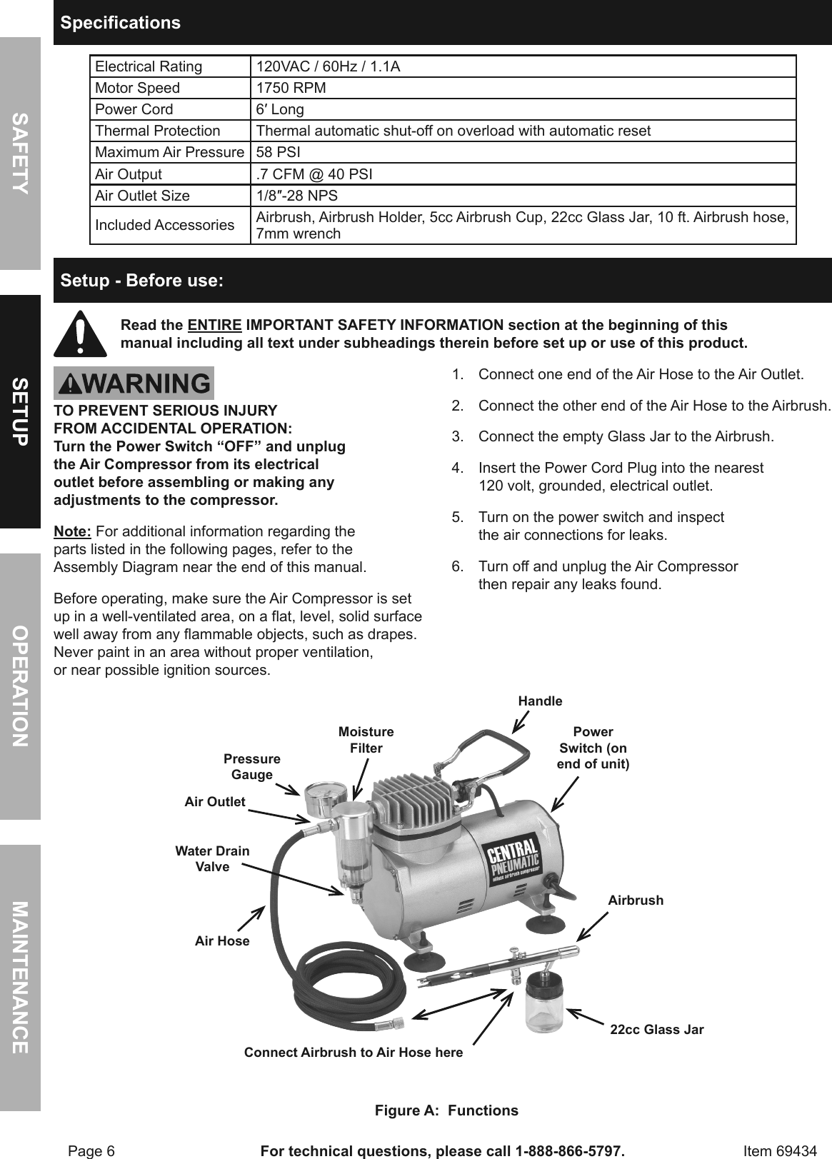 page 6 of 12 - manual for the 69434 1/5 horsepower, 58 psi