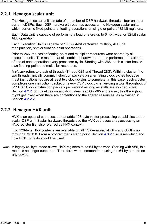 Qualcomm Hexagon DSP User Guide 80 VB419 108