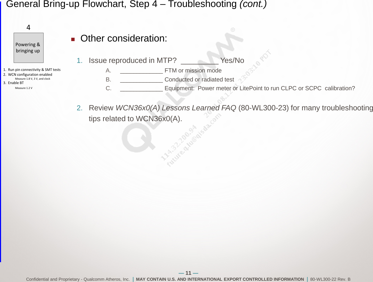 WCN3660 80 WL300 22 BRING UP AND TROUBLESHOOTING GUIDE