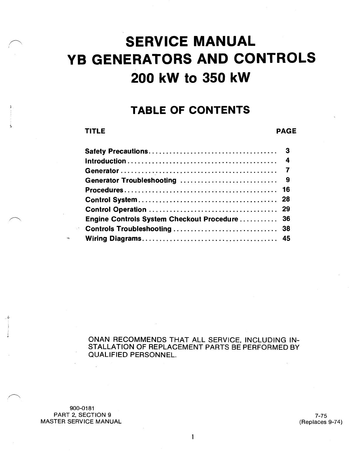 Onan Generator Troubleshooting Manual