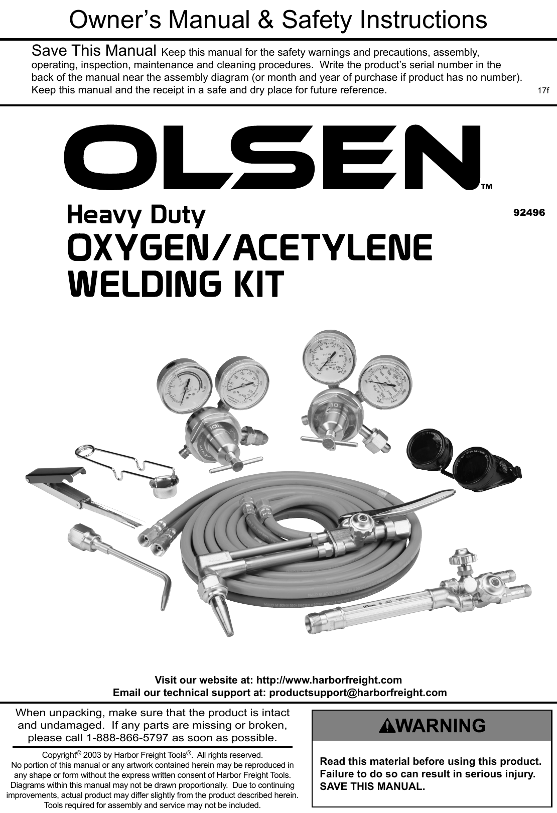 Manual For The 92496 Industrial Oxy Acetylene Welding Outfit Equipment Diagram