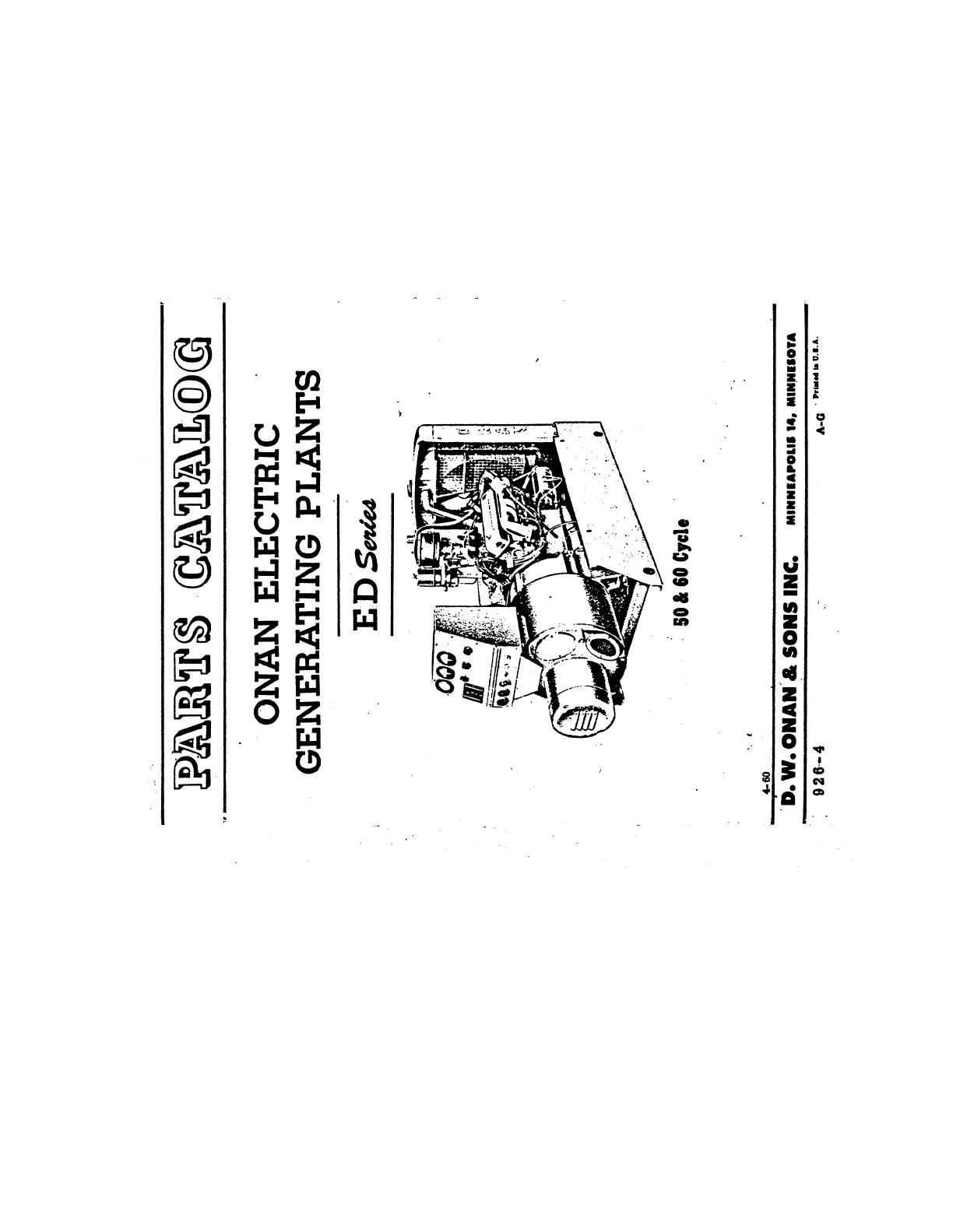 926 0004 Onan ED Series (spec A G) Parts Manual (04 1960)
