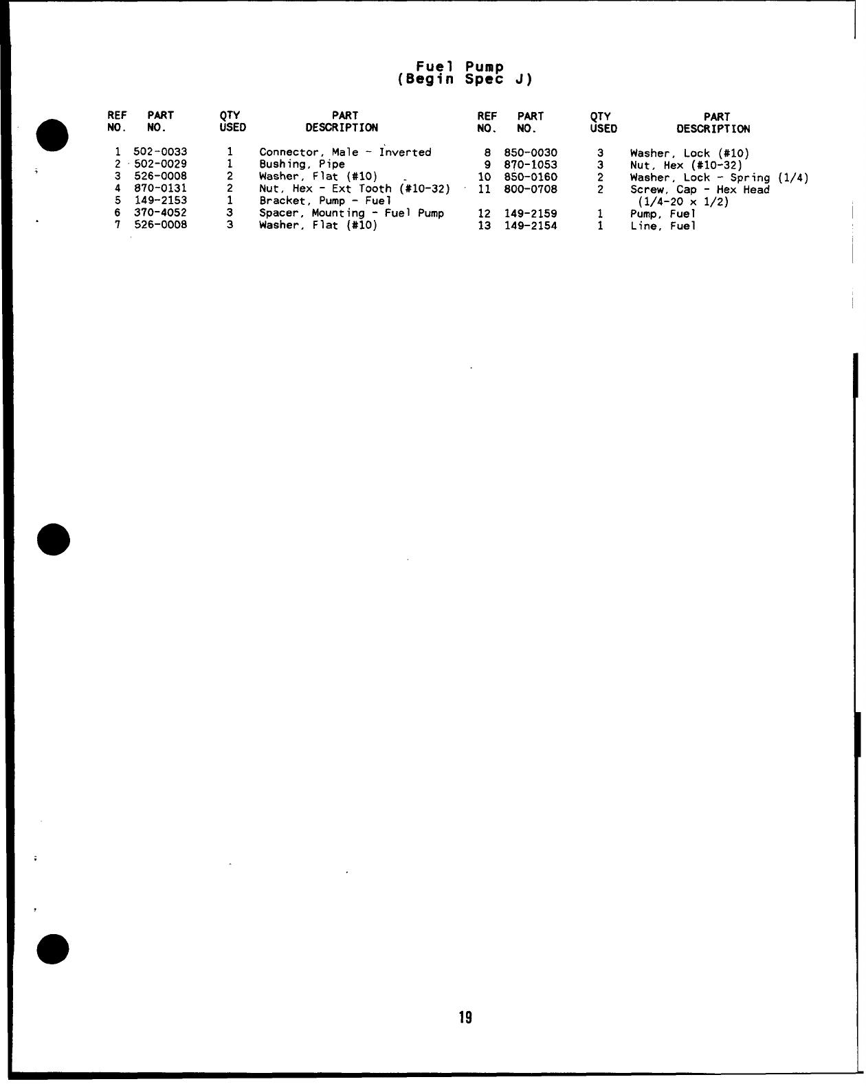 927 0224 Onan Mcck Spec H J Marine Genset Parts Manual 05 1988small Fuel Pump Specification Ref Part Qty