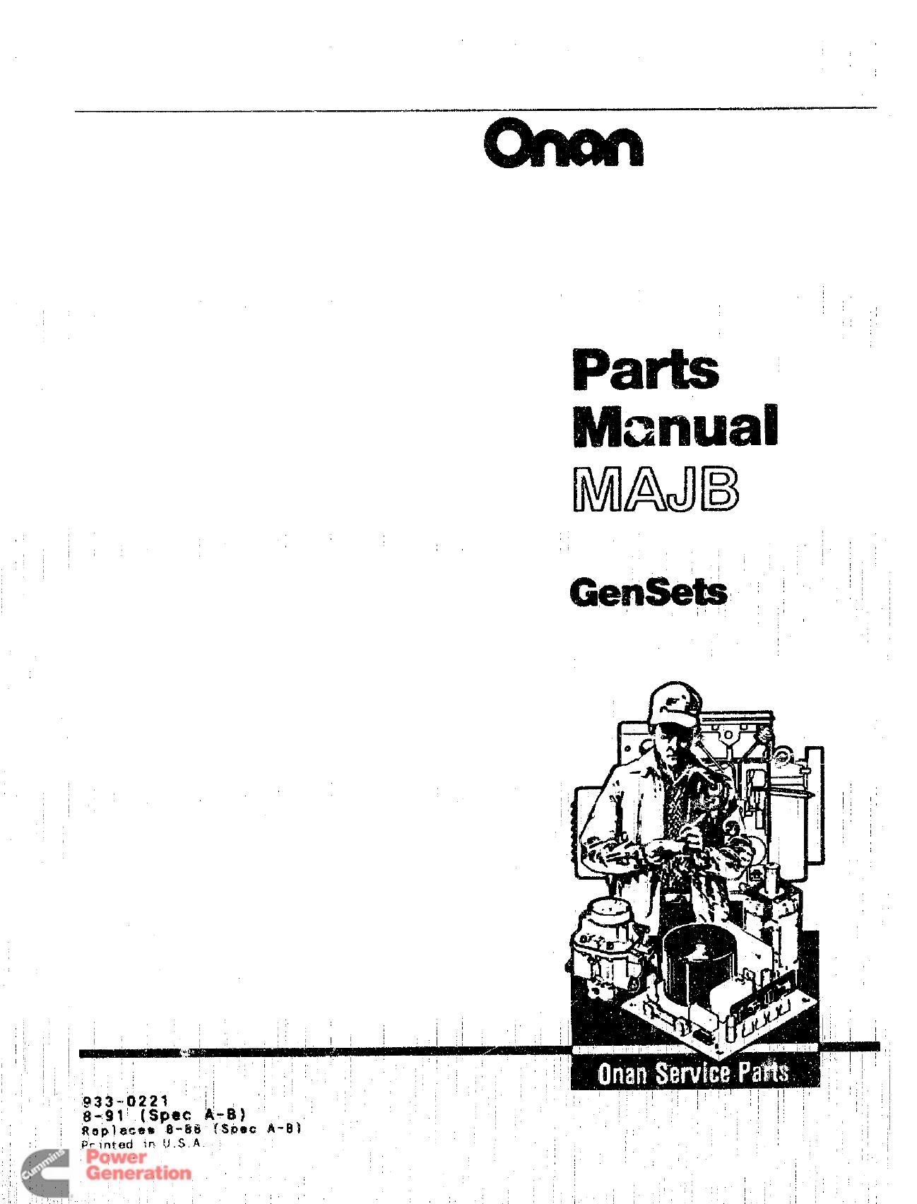Uys8196.tmp 933 0221 Onan MAJB (spec A B) Marine Genset Parts Manual on
