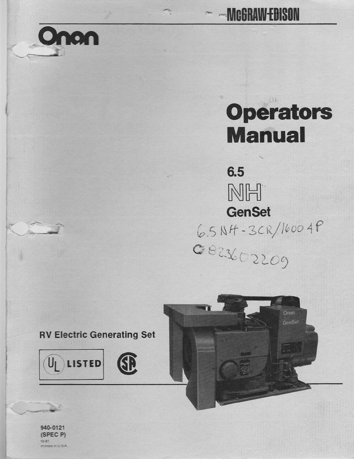 940 0121 Onan 6 5NH (spec P) RV Genset Operations Manual (10