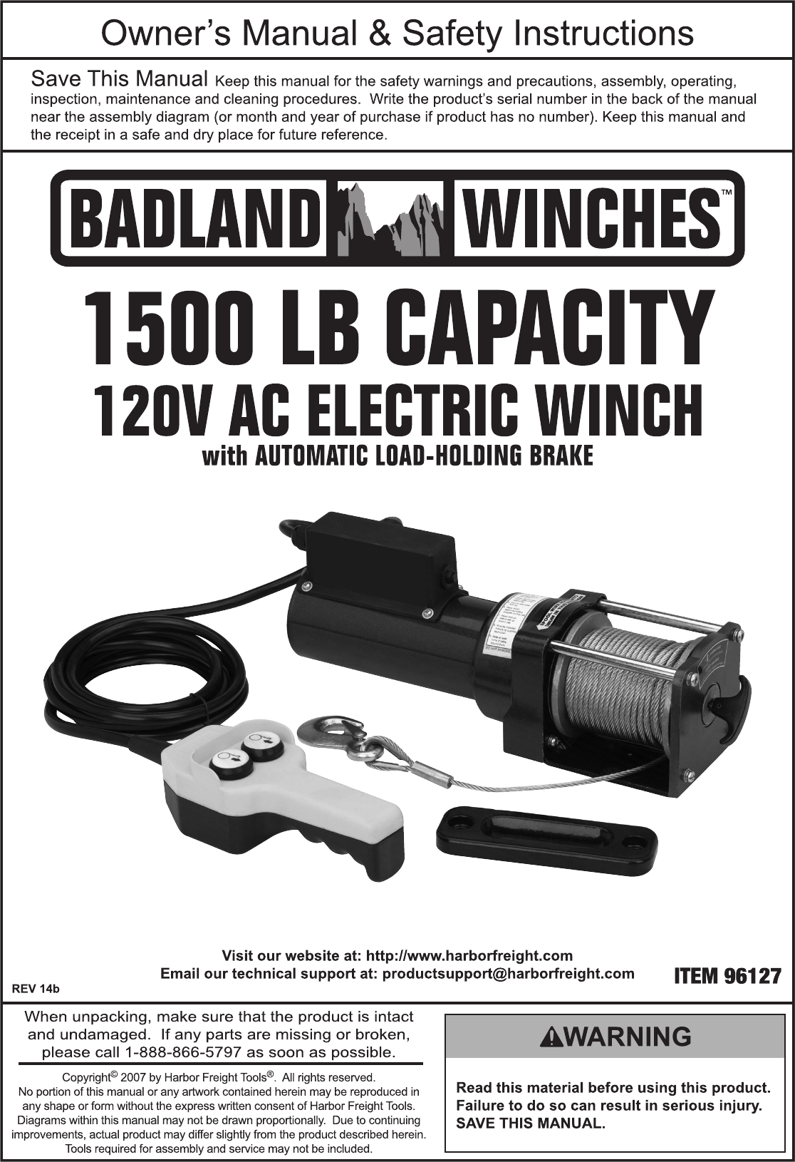 Manual For The 96127 1500 Lb Capacity 120 Volt Ac Electric Winch Badland Winches Website
