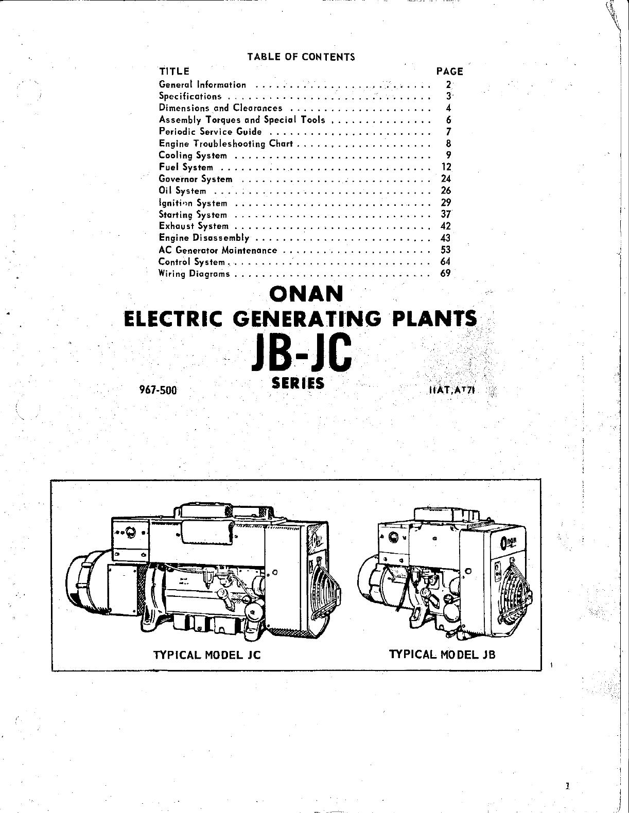 Jb Onan Wiring Complete Diagrams J B Diagram 967 0500 Jc Spec A T Genset Service Manual Magneciter End Rh Usermanual Wiki Generator 300 3056 Board Engine
