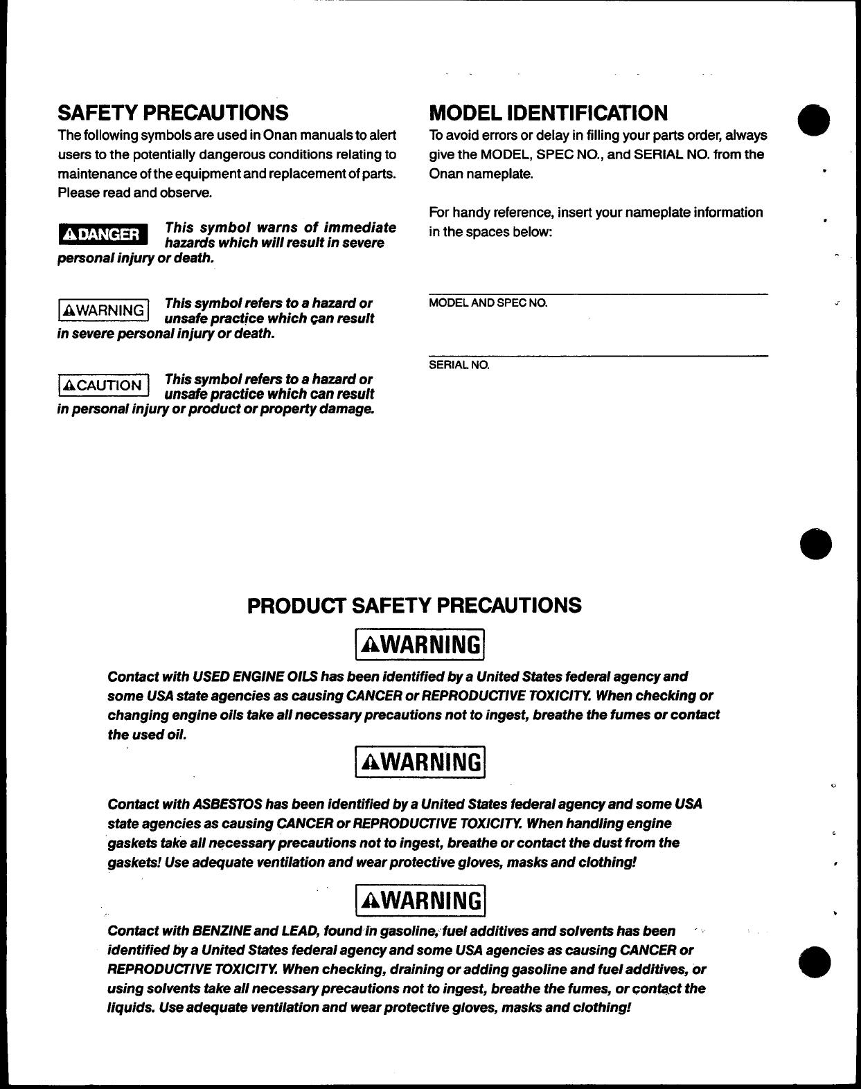 974 0220 Onan RJC (spec A AC) Genset Parts Manual (03 1990)