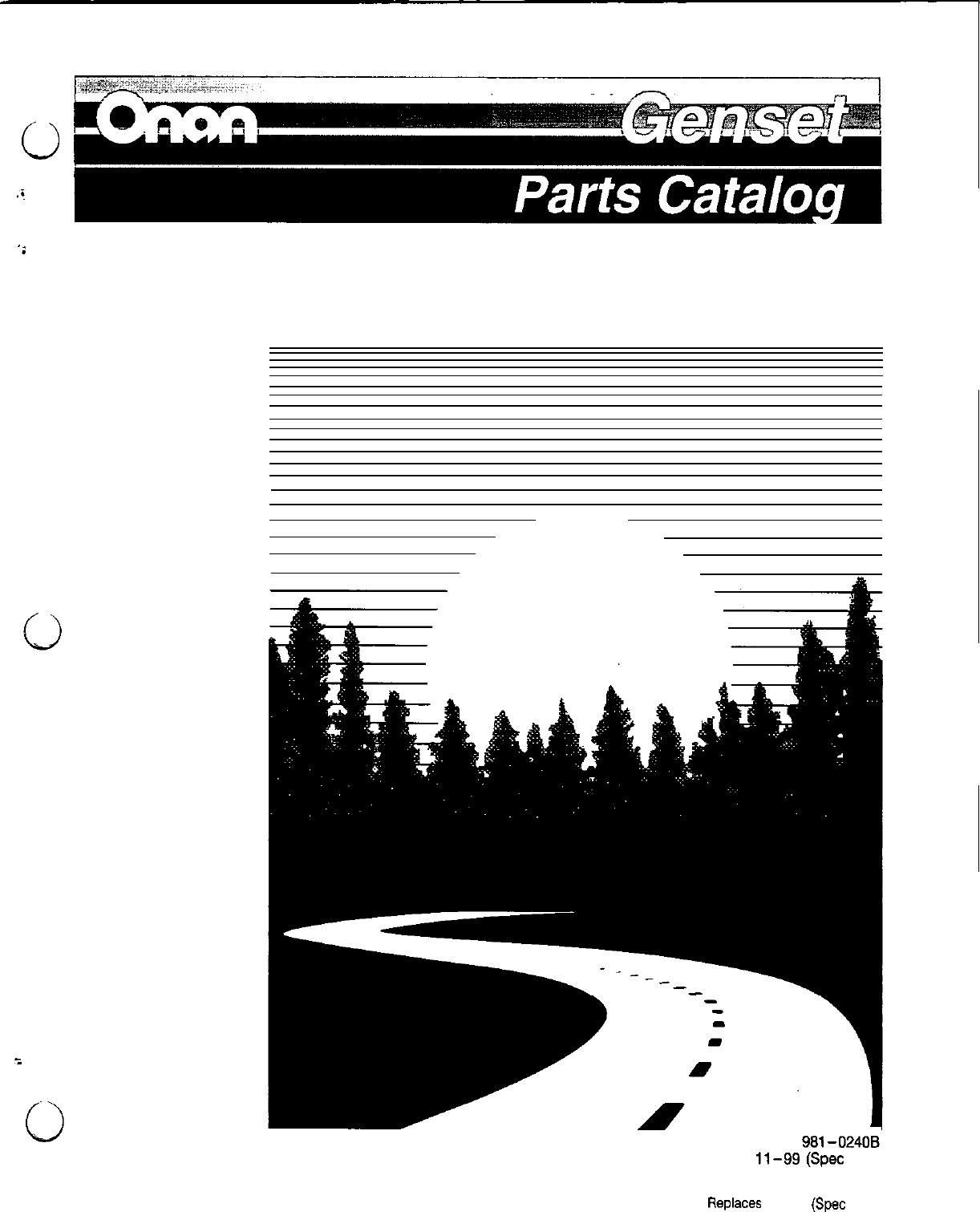 981 0240b onan dkd spec a e aux rv genset parts manual 11 1999