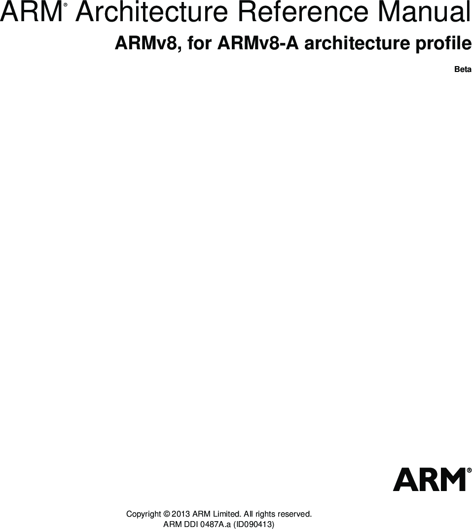 ARM Architecture Reference Manual ARMv8, For ARMv8 A Profile