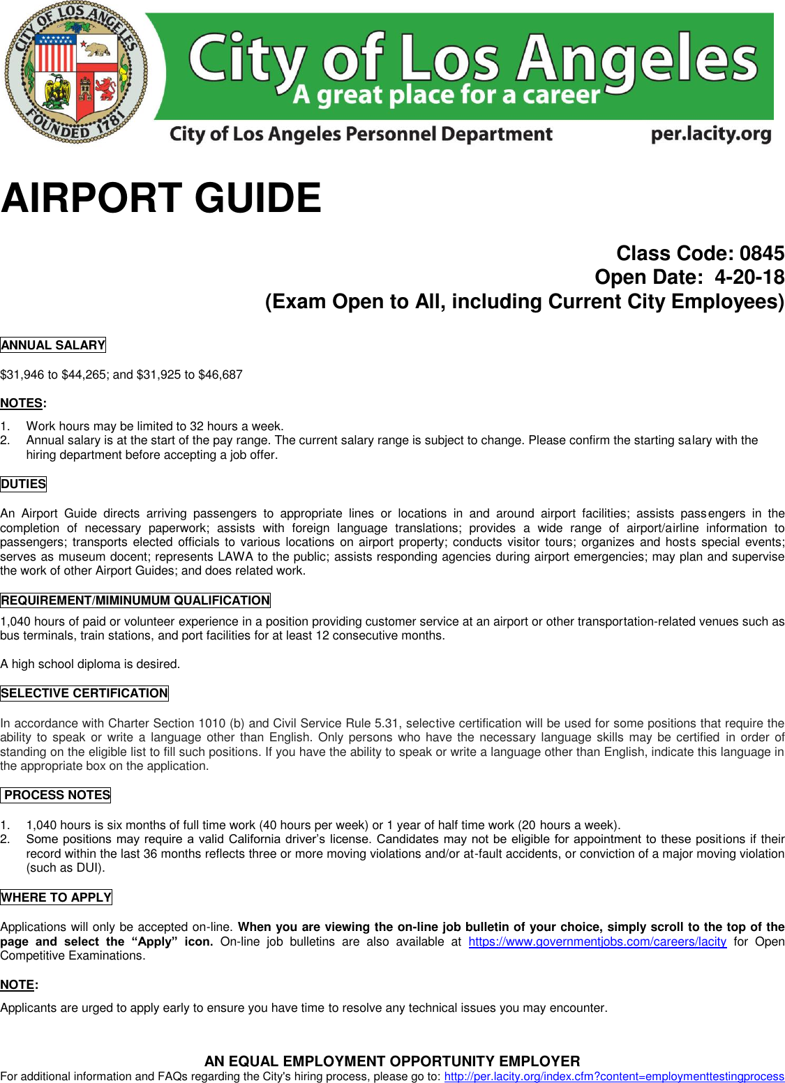 ELECTRIC DISTRIBUTION MECH TRAINEE AIRPORT GUIDE 0845 042018
