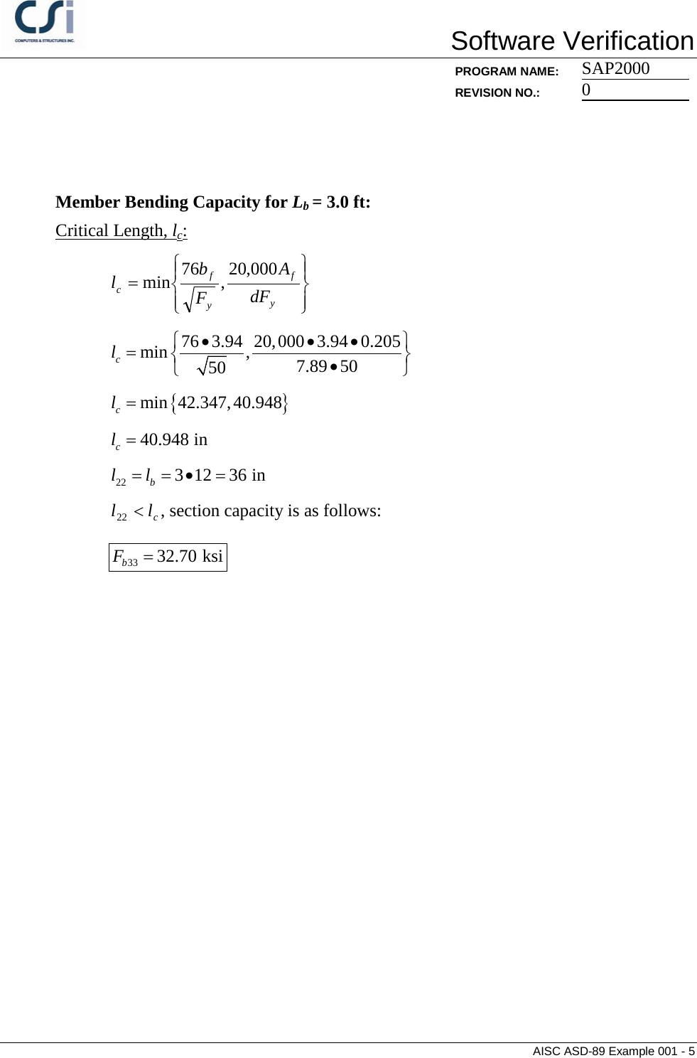 Contents AISC ASD 89 Example 001