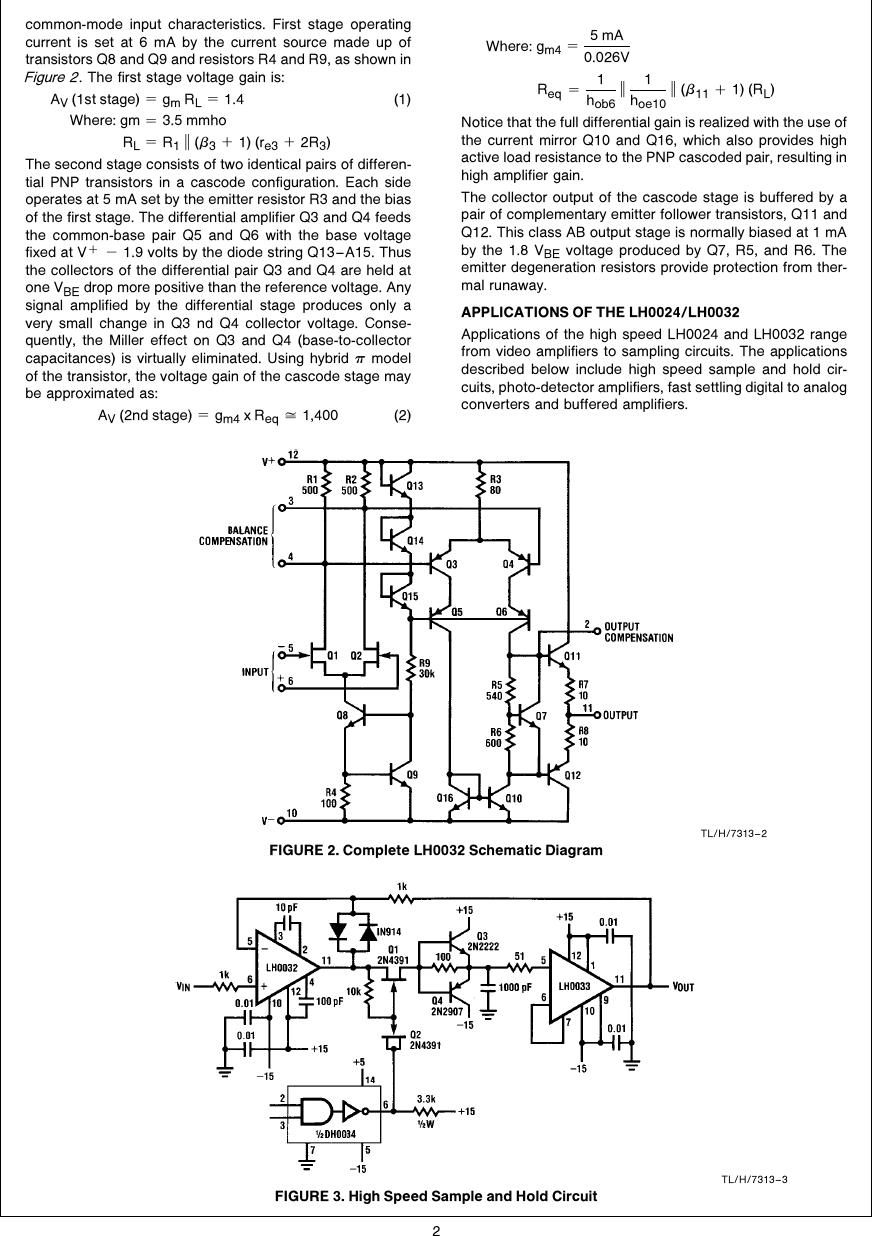 LH0024 And LH0032 High Speed Op Amp Applications AN 0253