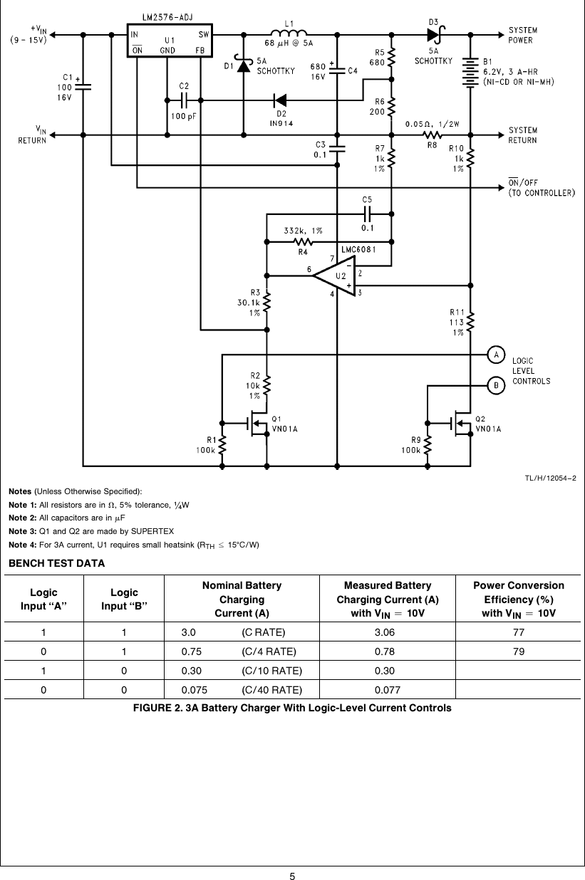 high efficiency 3a battery chargers use lm2576 regulators an 0946