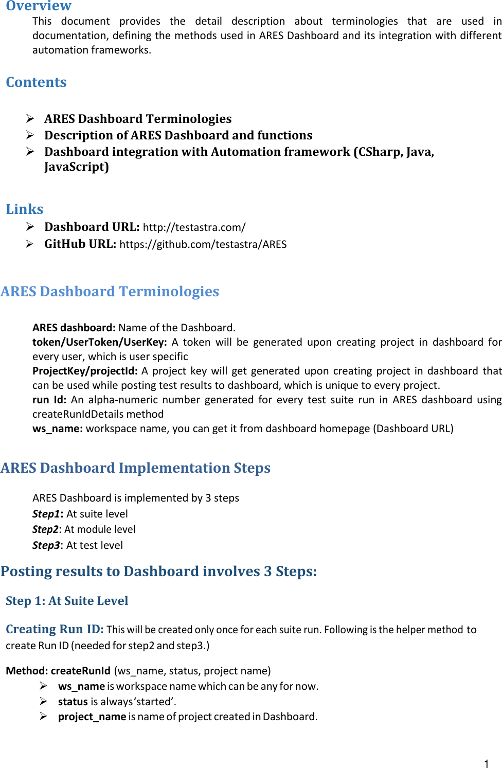 ARES Dashboard User Guide