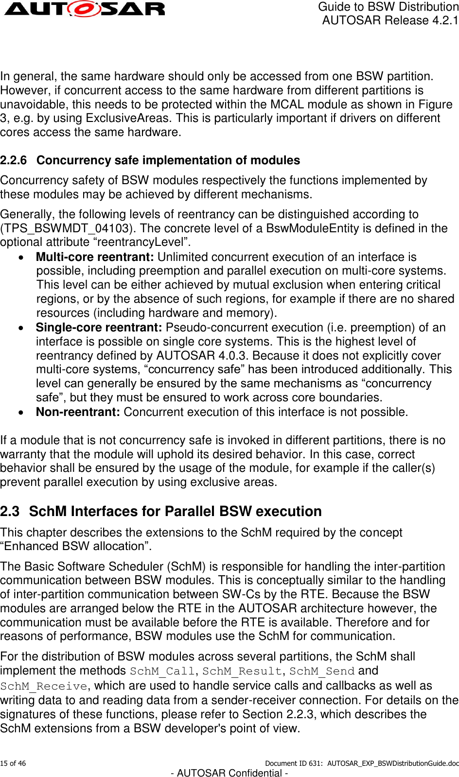Guide To BSW Distribution AUTOSAR EXP BSWDistribution