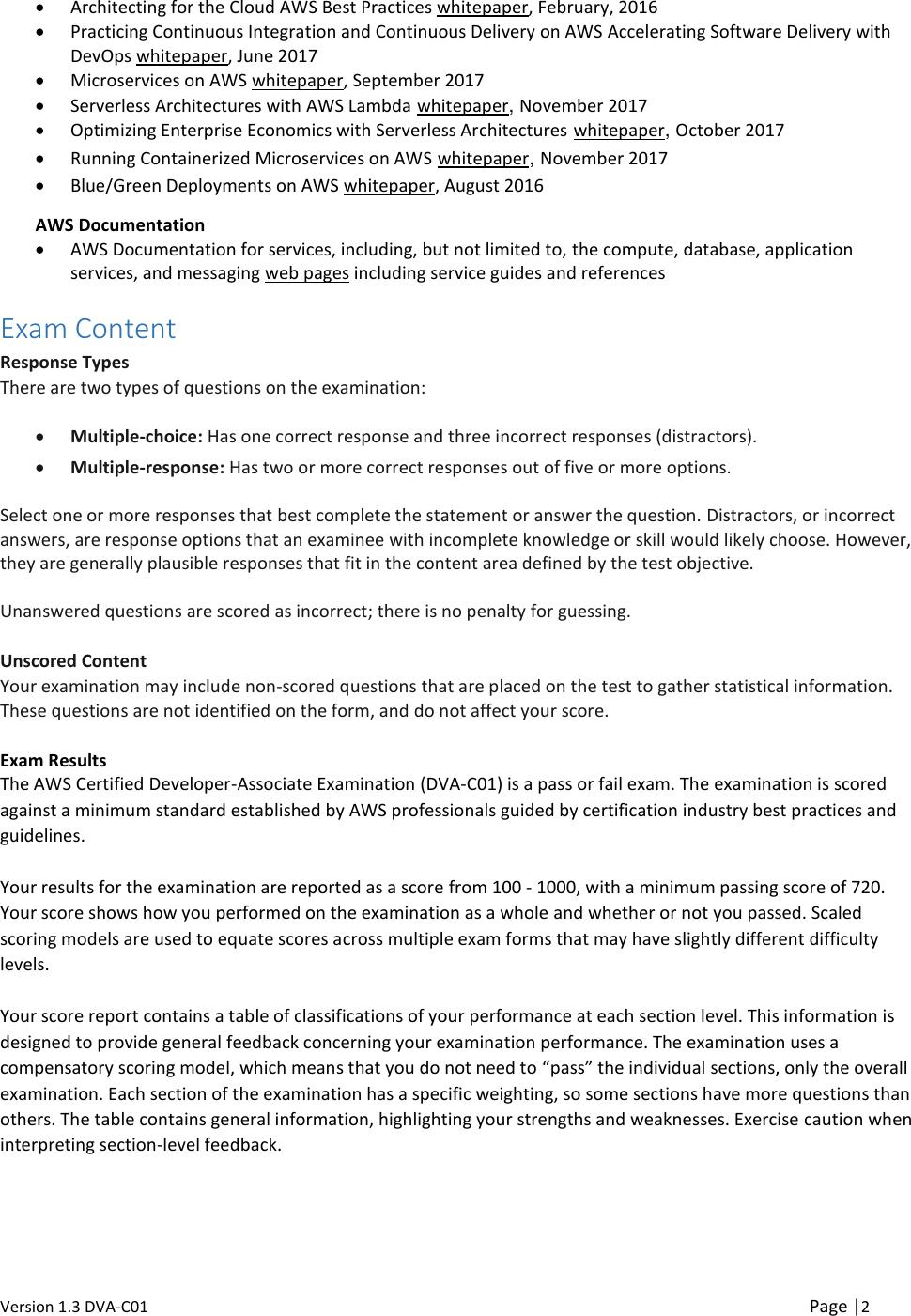 AWS Certified Developer Associate Updated June 2018 Exam