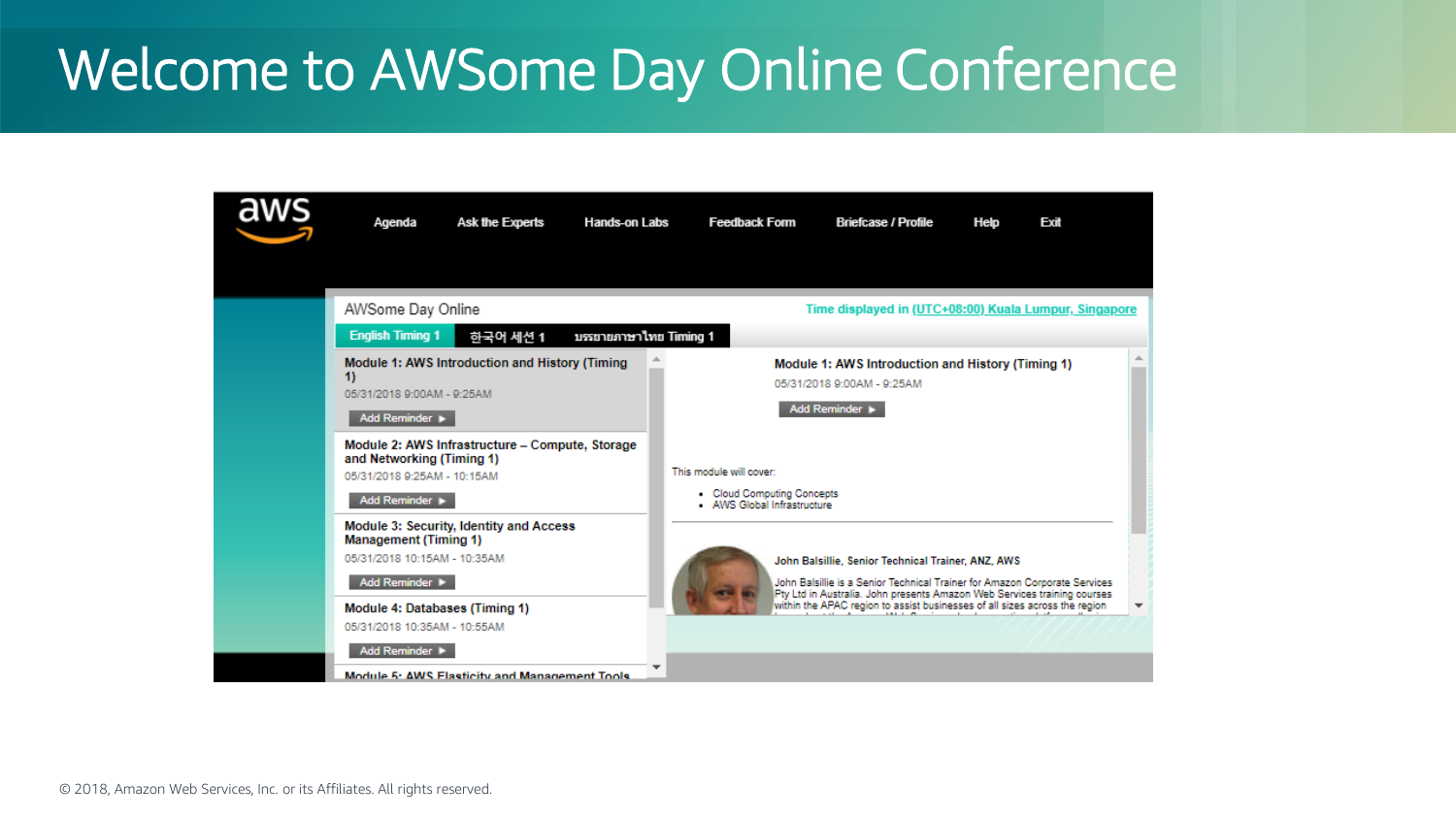 Presentation AWSome+Day+Online+Conference 2018 Attendee Guide