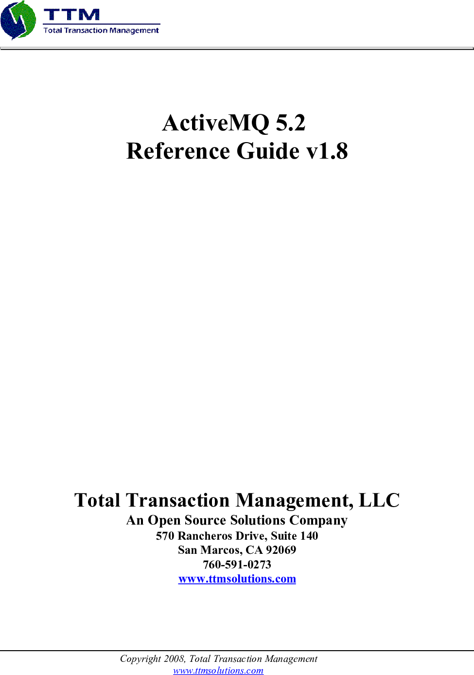AMQ User Guide Active MQ 5 2 Reference V1 8