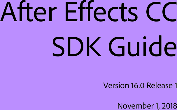 Adobe After Effects CC 15 0 SDK Guide