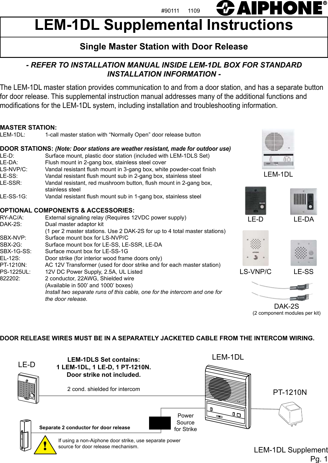 aiphone lem 1dl instructions rh usermanual wiki Old Intercom Systems for Home Station Master