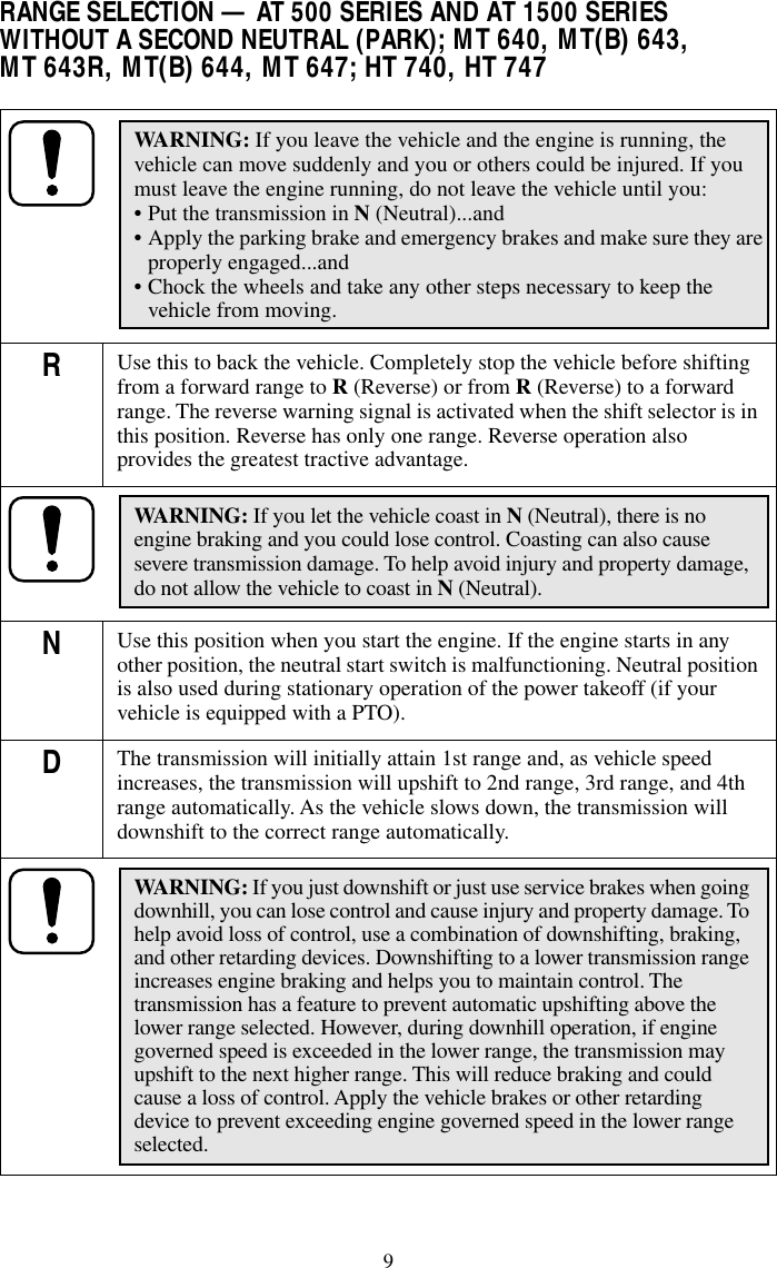 Operator's Manual AT, MT, HT Series Allison AT MT Transmission