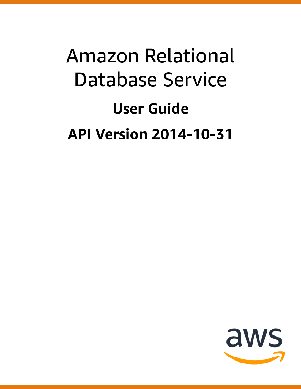 Amazon Relational Database Service User Guide RDS AWS