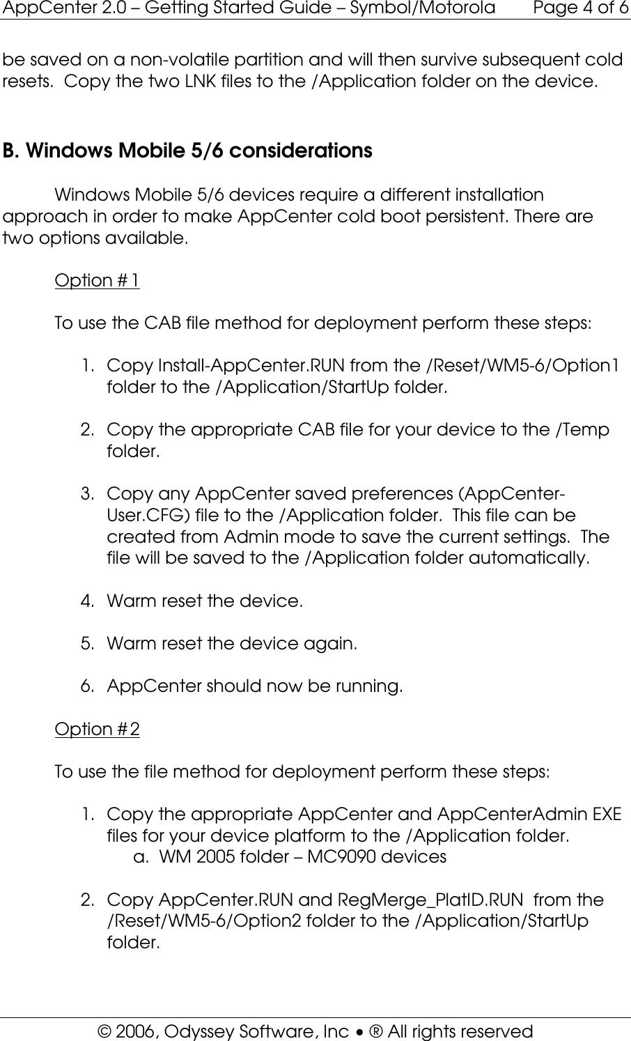 AppCenter 2 0 WM Getting Started Guide _Symbol Motorola_ App Center