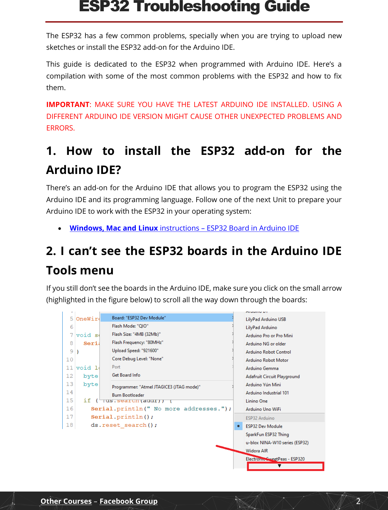 ESP32 Troubleshooting Guide Arduino IDE