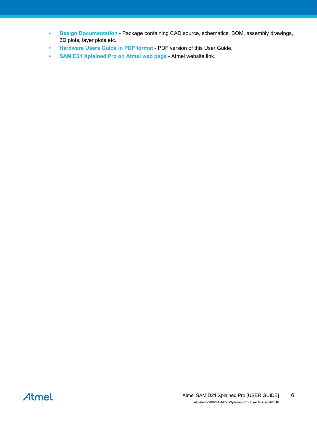 SAM D21 Xplained Pro Atmel 42220 SAMD21 User Guide
