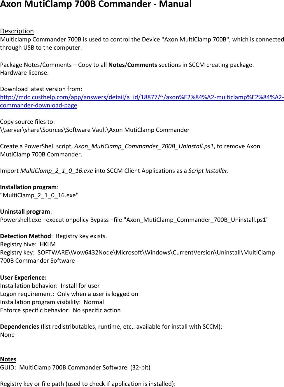 Axon Muti Clamp 700B Commander Manual