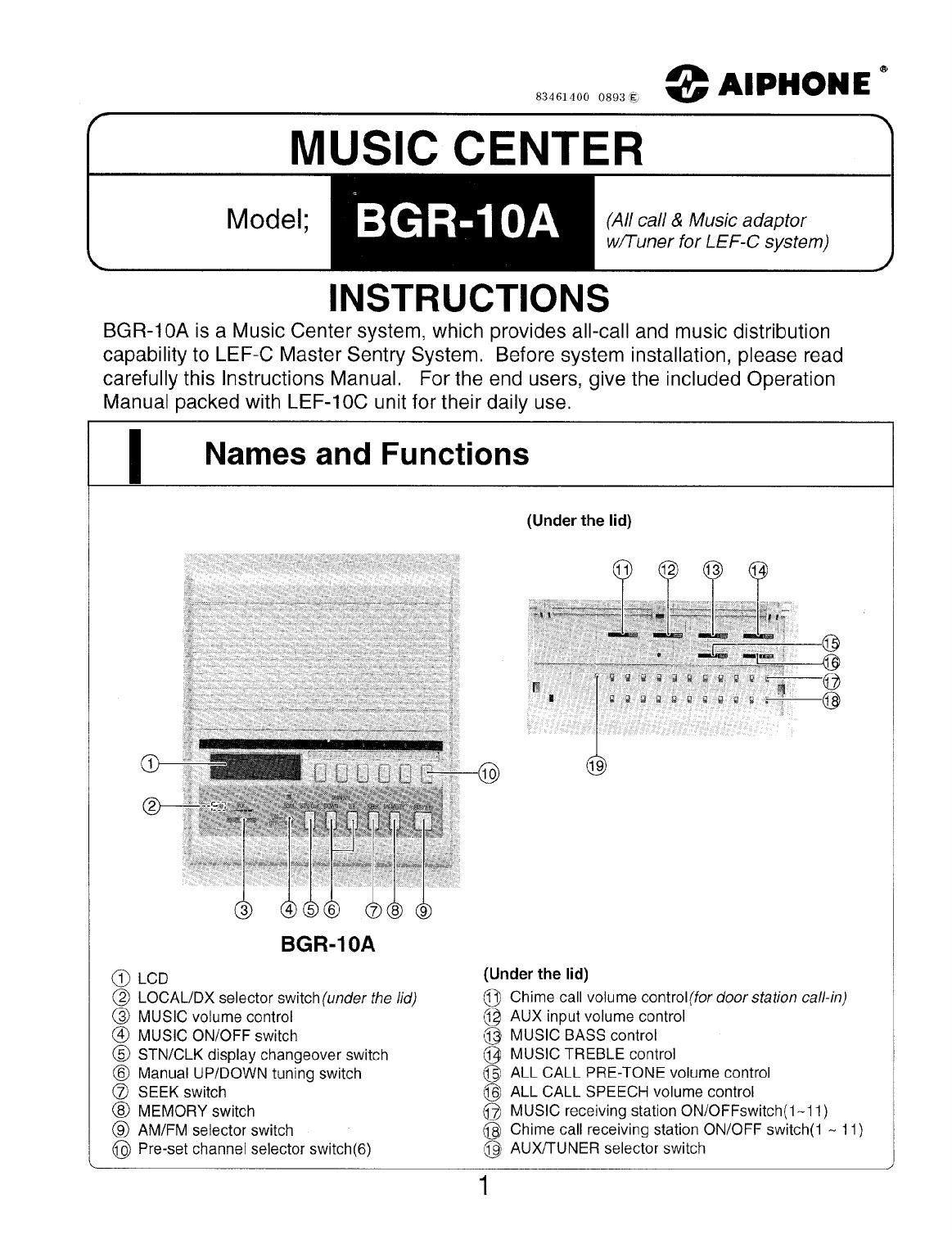 BGR 10A Music Center Instructions
