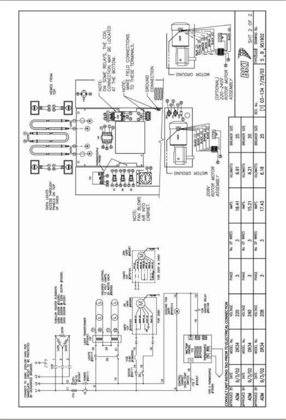 Dr34sm Double Revolving Oven Dr 34 Bki Dr34 Spm 240v Wiring Diagram Diagrams