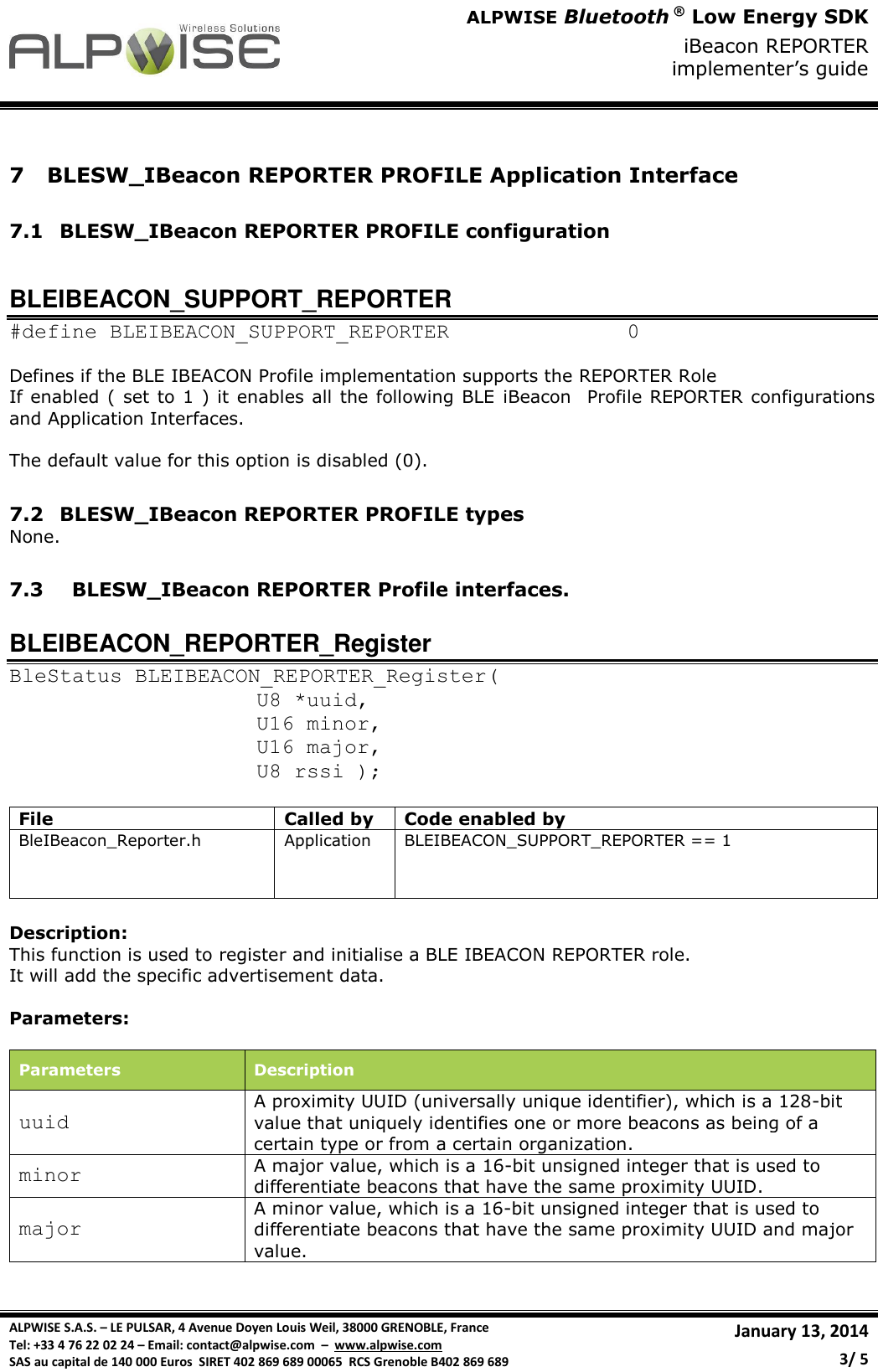 ALPWISE BLESW IBeacon REPORTER Implementer's Guide