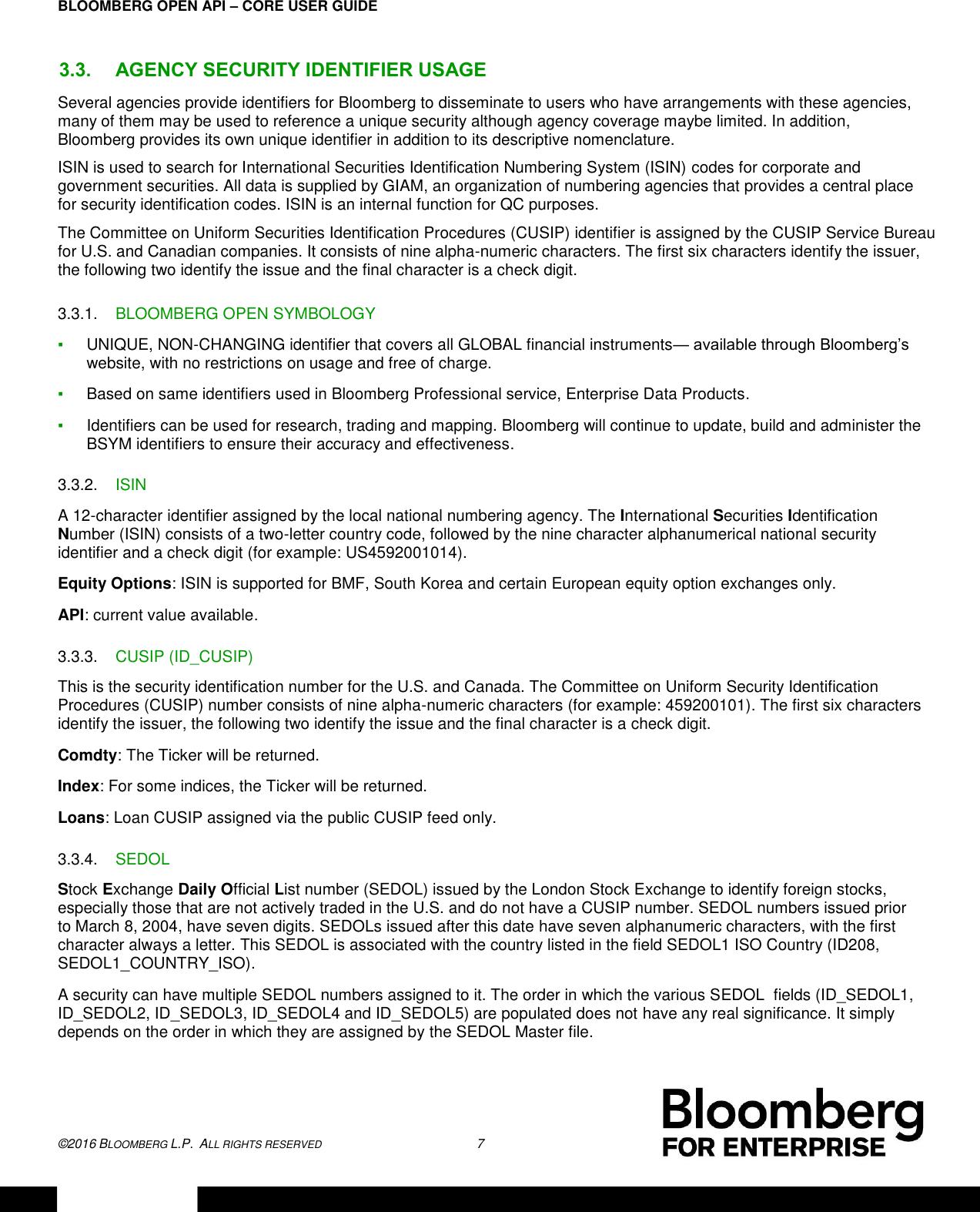 Core API Training BLPAPI User Guide