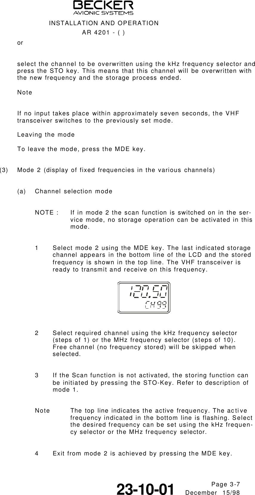 TITEL 1 Becker AR4201 Manual 1998 12 15