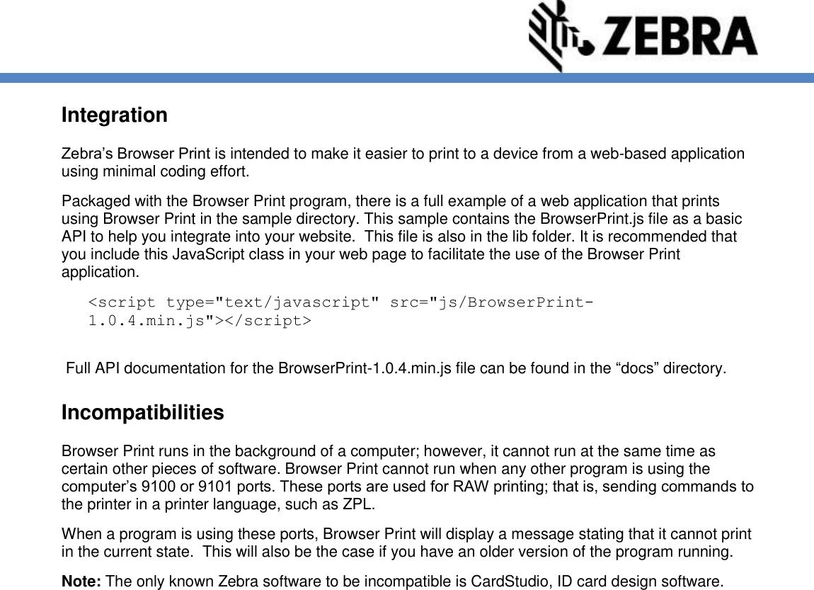 Zebra Browser Print Manual