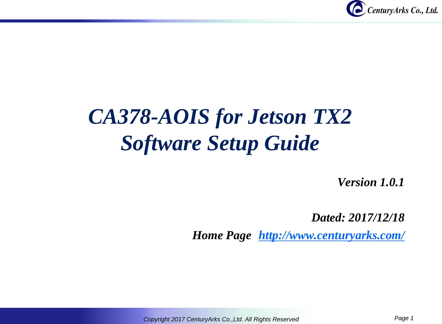 プレゼンテーション CA378 AOIS Software Setup Guide Jetson