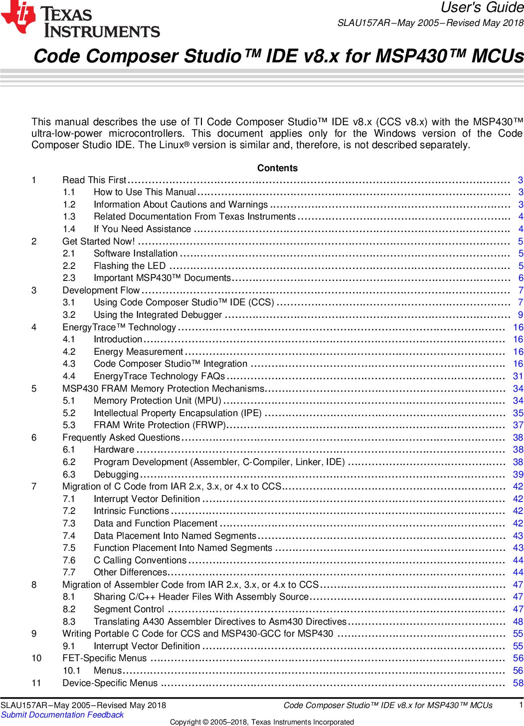 Code Composer Studio IDE V8 x For MSP430 MCUs (Rev  AR) CCSv8 User's