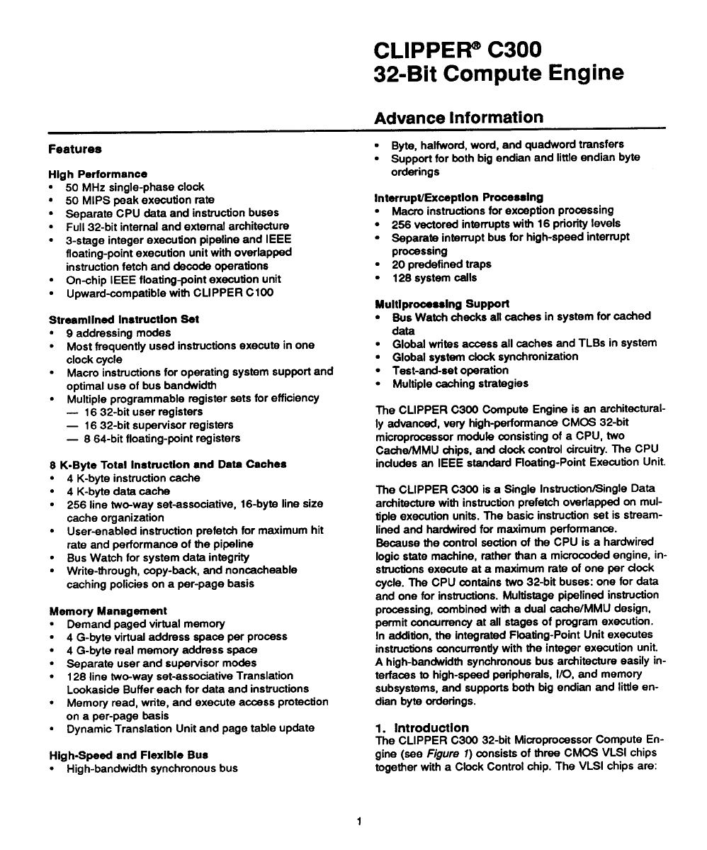The DatasheetArchive Datasheet Search Engine CLIPPER C300 32 Bit Compute