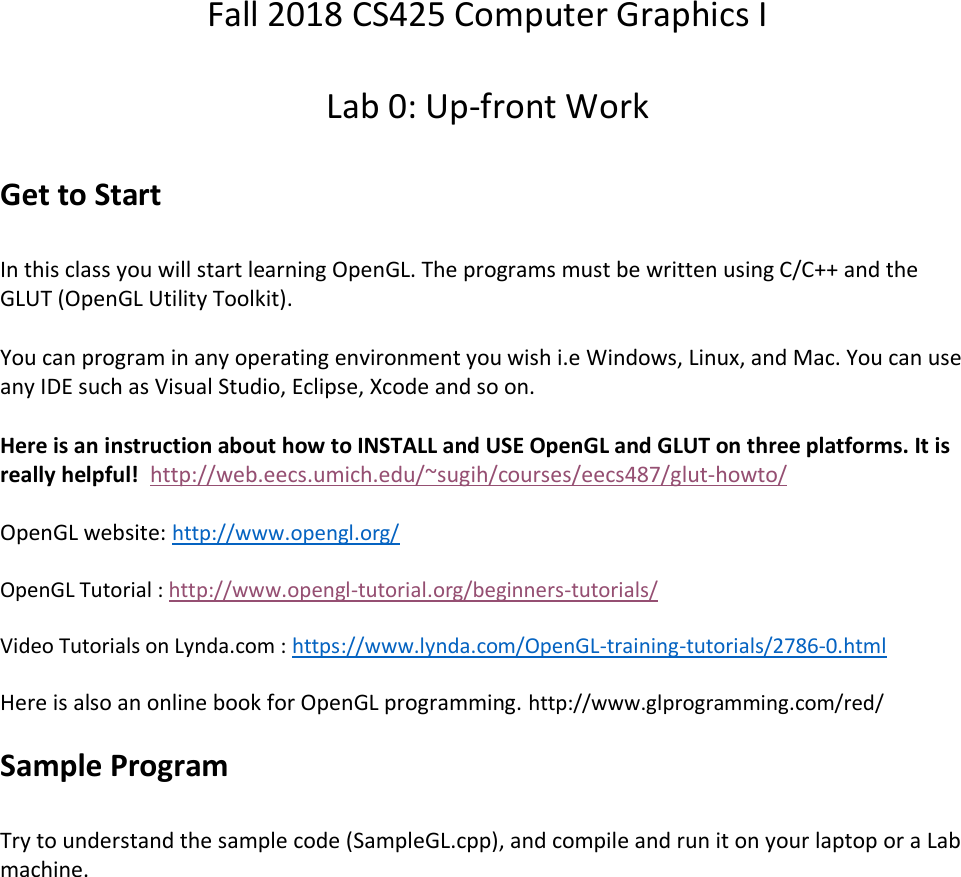 CS425 Open GL And GLUT Instructions