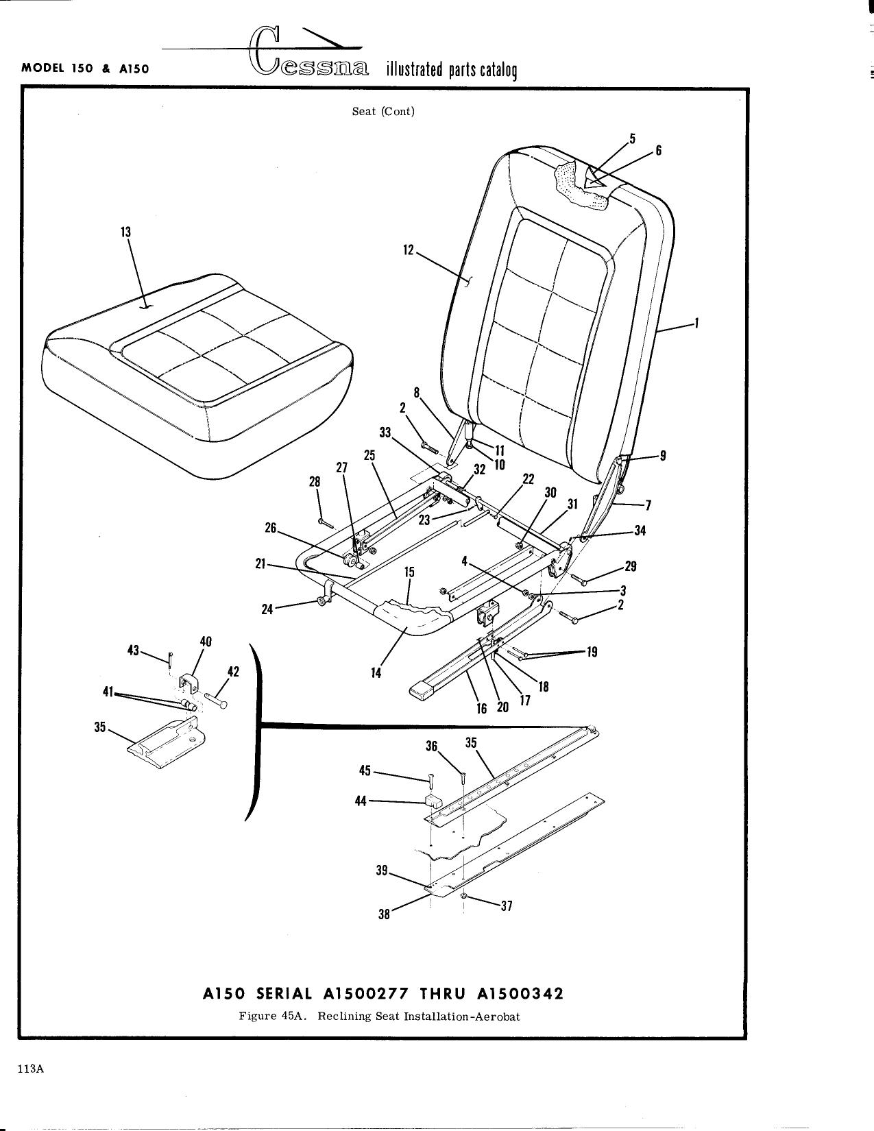 Cessna 172 Seat Parts