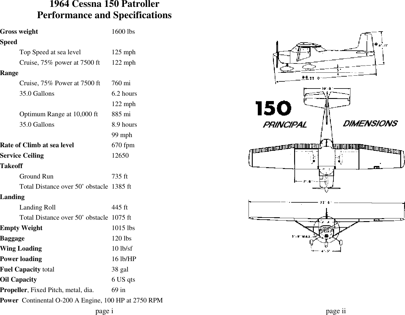 1964 Cessna 150 Patroller C150d Owners Manual Retyped 152 Navigation Light Wiring Diagram